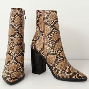 Snake skin booties.